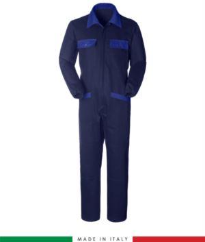 Zweifarbiger Overall, Hemdkragen,mittig verdeckter Reissverschluss, elastische Taille. Moeglichkeit der personalisierten Produktion. Hergestellt in Italien. Farbe marineblau/Koenigsblau