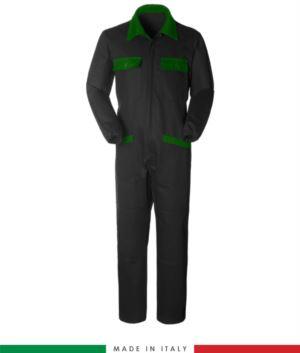 Zweifarbiger Overall, Hemdkragen,mittig verdeckter Reissverschluss, elastische Taille. Moeglichkeit der personalisierten Produktion. Hergestellt in Italien. Farbe Schwarz/gruen