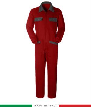 Zweifarbiger Overall, Hemdkragen,mittig verdeckter Reissverschluss, elastische Taille. Moeglichkeit der personalisierten Produktion. Hergestellt in Italien. Farbe rot/grau