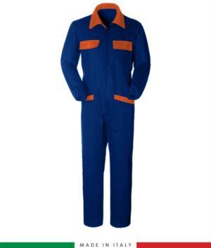 Zweifarbiger Overall, Hemdkragen,mittig verdeckter Reissverschluss, elastische Taille. Moeglichkeit der personalisierten Produktion. Hergestellt in Italien. Farbe koenigsblau/orange