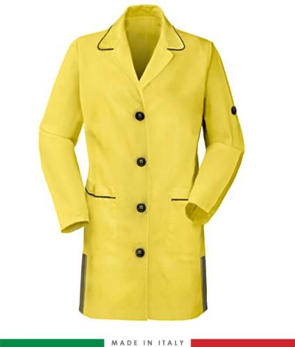 Damen Langarmhemd 100% Baumwolle gelb