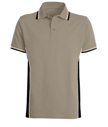 Zweifarbiges Kurzarm Poloshirt mit zweifarbiger Doppelpaspel an Kragen, Unterarm und Seitenband. Farbe: Grau/schwarz