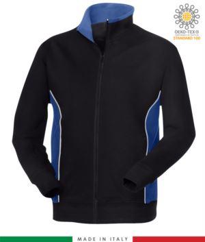 Arbeits-Sweatshirt mit langem Reissverschluss marineblau mit koenigsblauem Band aus Italien