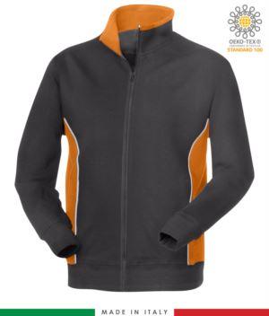 Arbeits-Sweatshirt mit langem Reissverschluss grau mit orange Band aus Italien