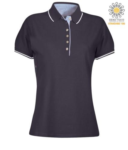 Zweifarbiges Damen Kurzarm Poloshirt , hellblaues Oxford Interieur, Kragen und Aermel mit kontrastierenden Details. marineblau /weiss Farbe