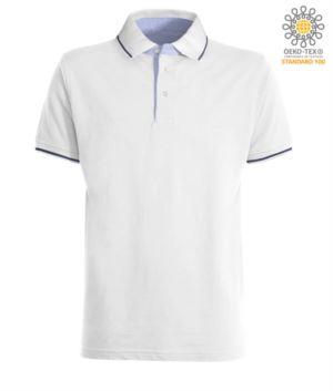 Zweifarbiges Kurzarm Poloshirt, hellblaues Oxford Interieur, Kragen und Aermel mit kontrastreichen Details. Koenigliches Weiss / Marineblau Farbe